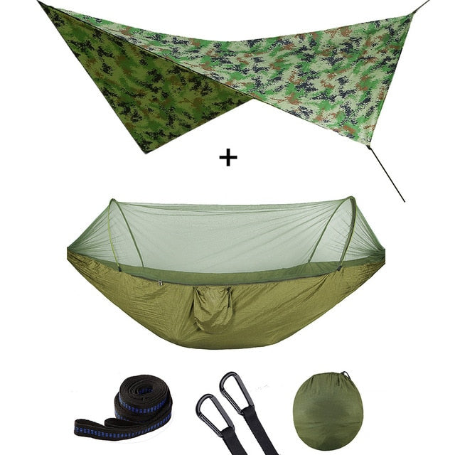 Summit Style 3 in 1 Nature Mosquito Net Hammock with Canopy: Camouflage