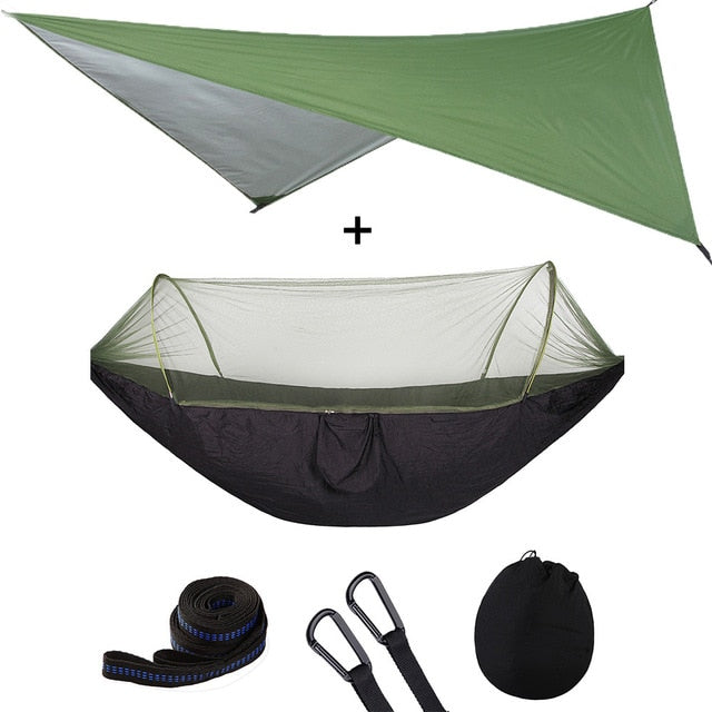 Summit Style 3 in 1 Nature Mosquito Net Hammock with Canopy: Green and Black