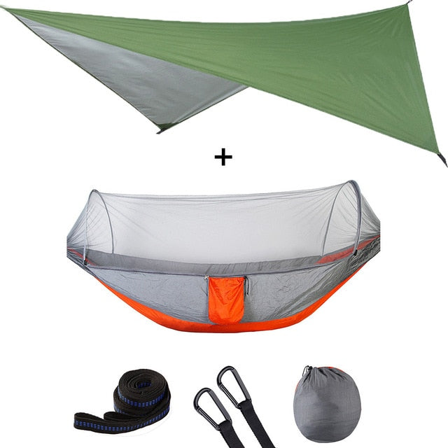 Summit Style 3 in 1 Nature Mosquito Net Hammock with Canopy: Green and Orange