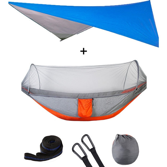 Summit Style 3 in 1 Nature Mosquito Net Hammock with Canopy: Orange and Blue