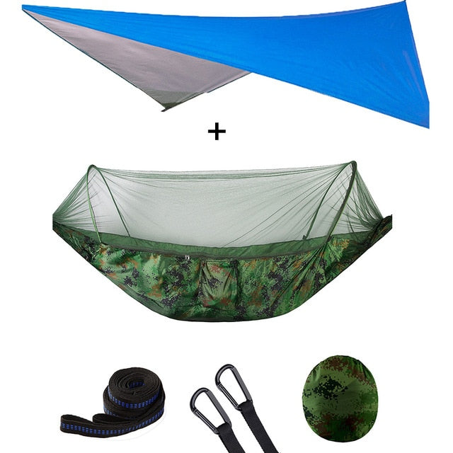 Summit Style 3 in 1 Nature Mosquito Net Hammock with Canopy: Blue and Green