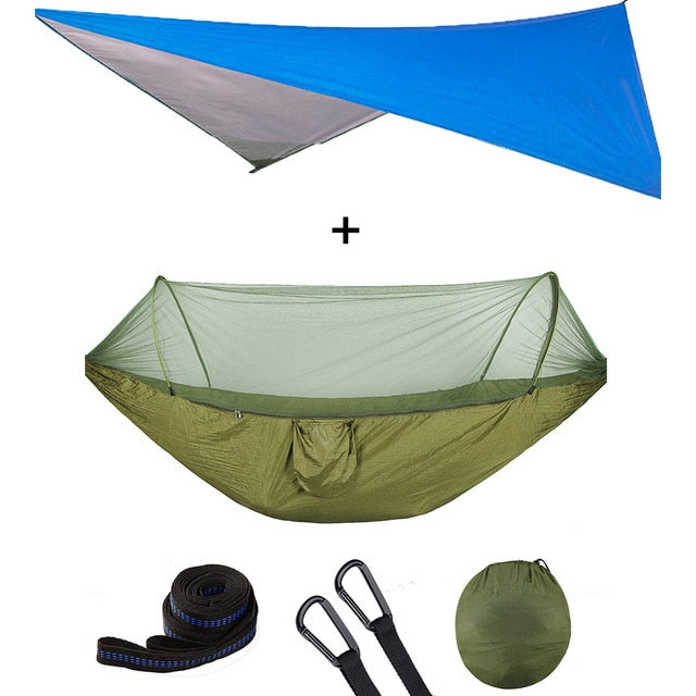 Summit Style 3 in 1 Nature Mosquito Net Hammock with Canopy: Green and Blue