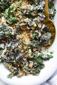 Creamed Swiss Chard and Garlic Breadcrumbs