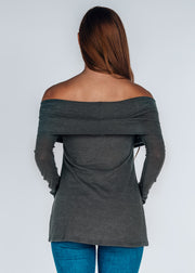 Cold Shoulder Sweater- Gray