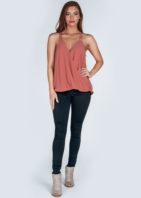 """Everly"" Top- Coral"
