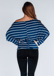 Weekender Striped Top- Navy
