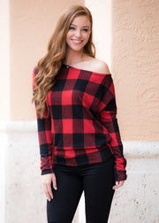 Janie Plaid Top- Red