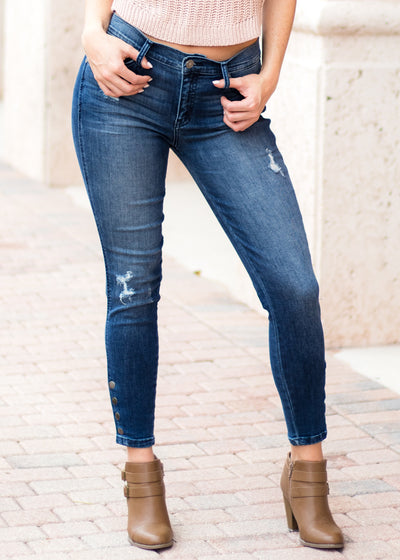 Kan Can Button Detail Ankle Skinny Jeans