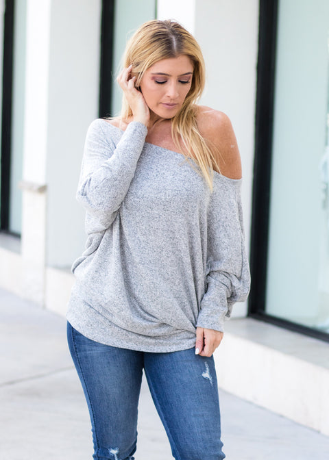 """Cozy Days"" Sweater Top- Gray"