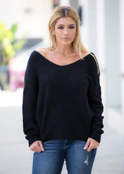 """Lola"" Sweater Top- Black"
