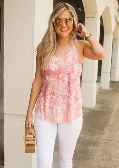 Paisley Top- Dusty Rose