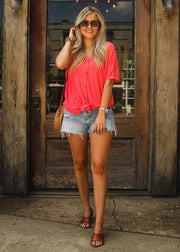 Lazy Days Top- Coral