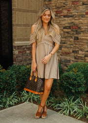 Lace and Lust Dress- Taupe
