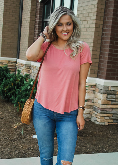 Fancy Back Tee- Mauve