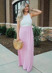 """Sweetheart""  Maxi Dress- Pink and White"