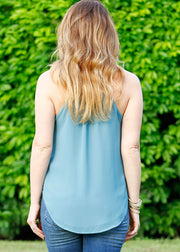 """Roxy"" Top- Dusty Blue"