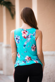 Floral Pop Top- Mint