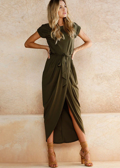 Leslie Wrap Dress- Olive
