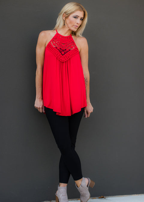 Love and Lace Top- Red