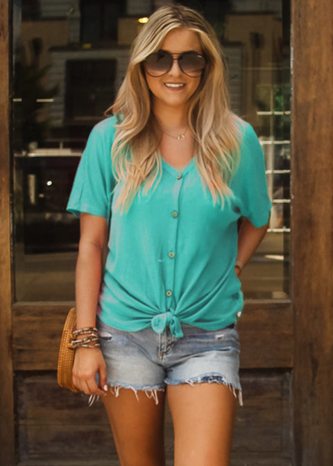 Lazy Days Jersey Top- Mint