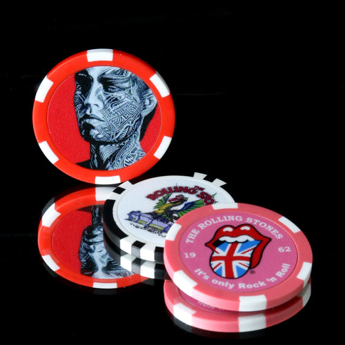 The Rolling Stones Golf Goods (Official Licks Logo) - 3 Pack Poker Chip Ball Marker - 3 Unique Prints