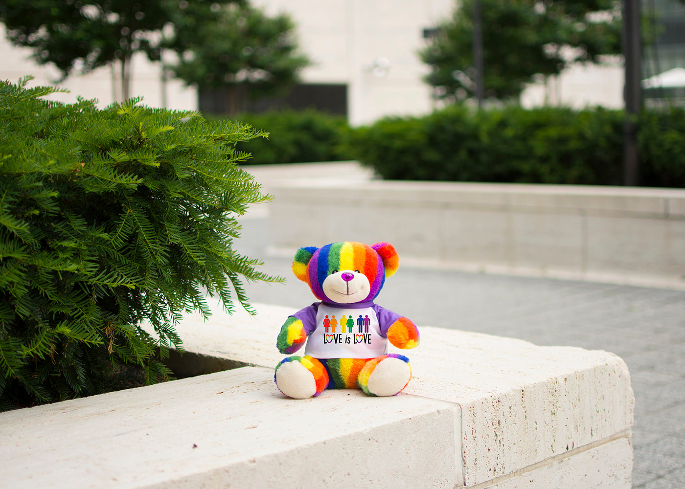 Bear Buggy®'s Totally Pride Teddy bear photographed in Damrosch Park at the Lincoln Center in Midtown Manhattan, NY. Photographed to celebrate Pride.