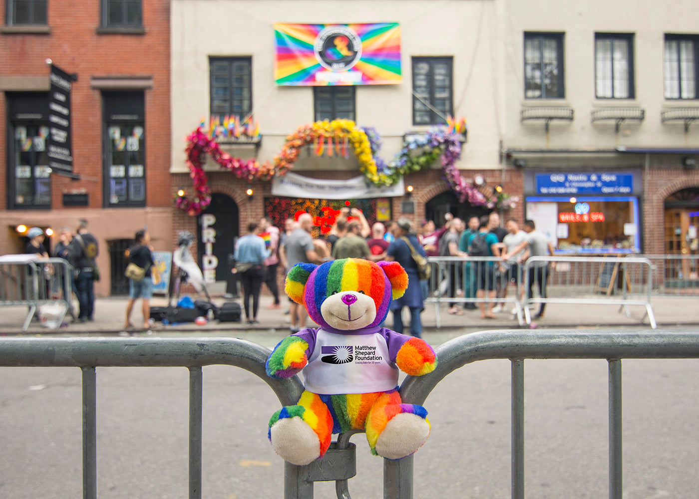 Bear Buggy®'s Totally Pride Teddy photographed for Pride in front of Stonewall, the birthplace of the modern LGBTQ civil rights movement.