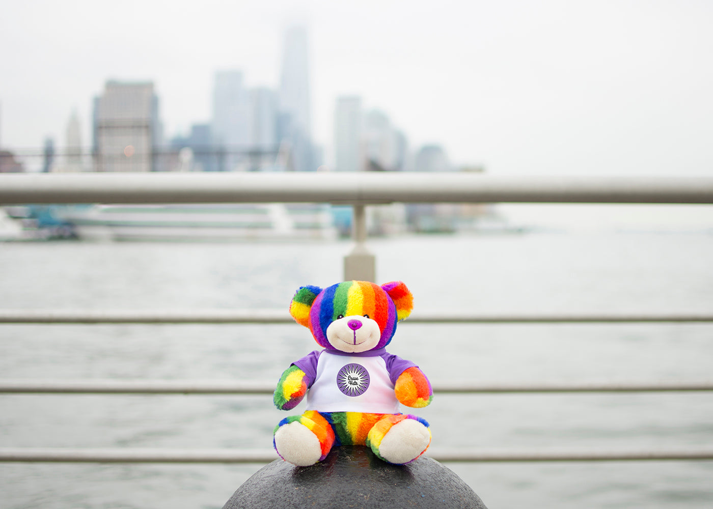 Bear Buggy®'s Totally Pride Bear photographed at the end of the Christopher St. Pier aka Pier 45 on the Hudson River where Marsha P. Johnson's body was found in July 1992.