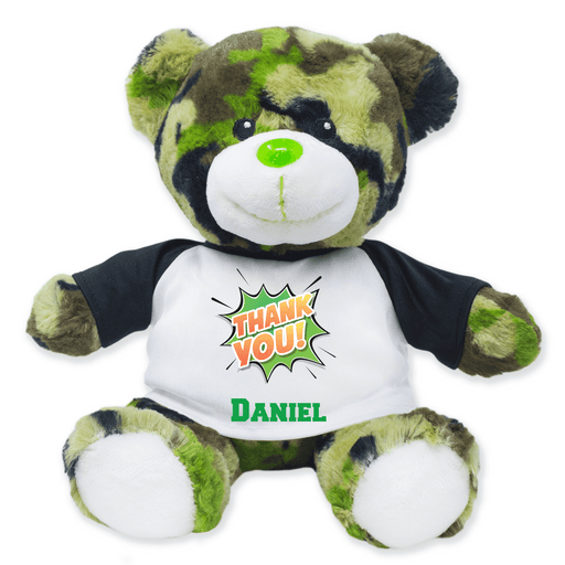 "9"" Green Camo Teddy Bear - Thank You"