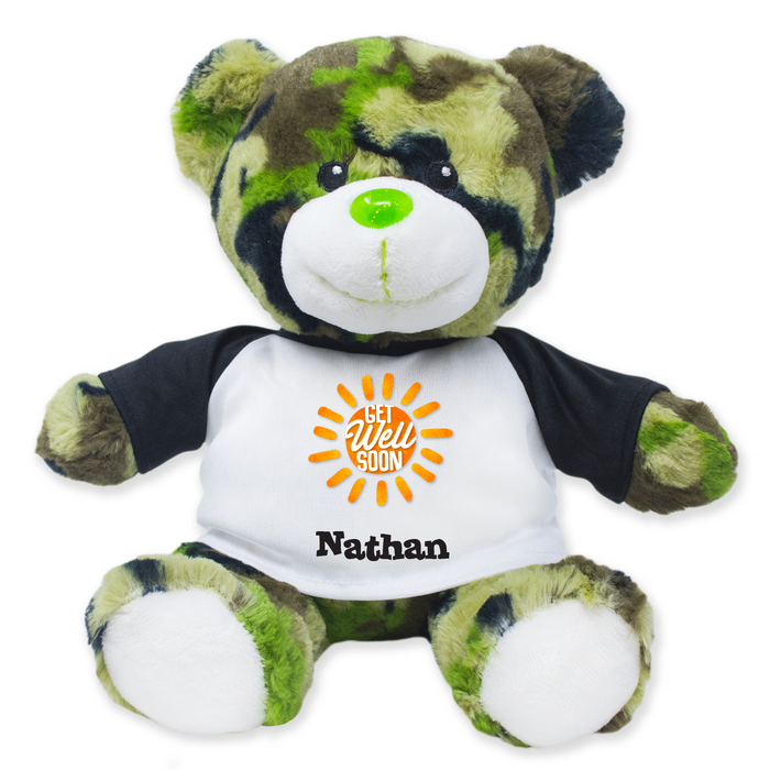 "9"" Green Camo Teddy Bear"