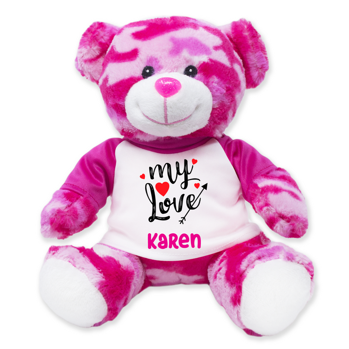 "9"" Pink Camo Teddy Bear"