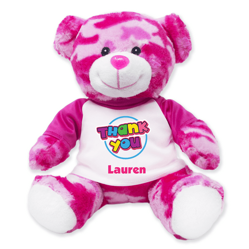 "9"" Pink Camo Teddy Bear - Thank You"