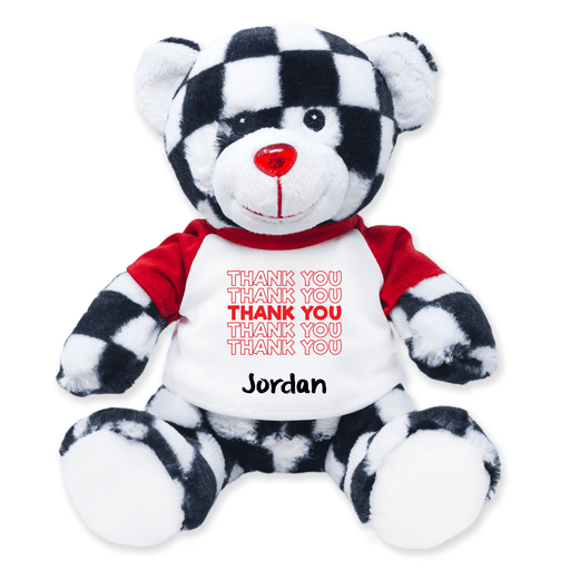 "9"" Checkered Teddy Bear - Thank You"
