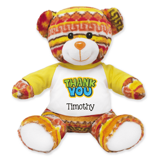 "9"" Tribal Teddy Bear - Thank You"