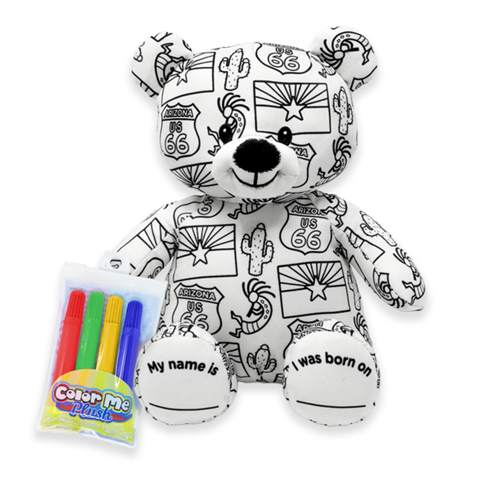 "8.5"" Arizona Color Me Plush Teddy"