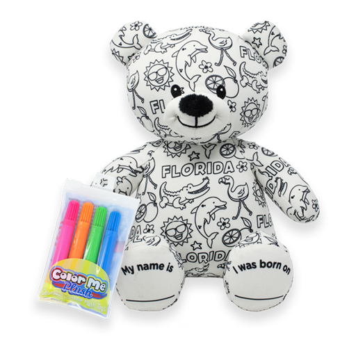 "8.5"" Florida Color Me Plush Teddy"