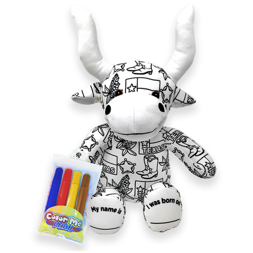 "8.5"" Texas Color Me Plush Longhorn"