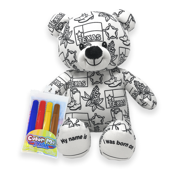 "8.5"" Texas Color Me Plush Teddy"