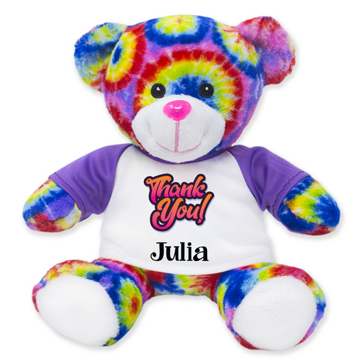 "9"" Tie-Dye Teddy Bear - Thank You"