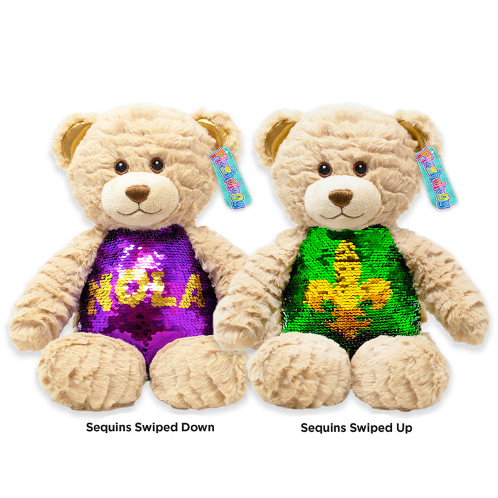 "9.5"" New Orleans Magic Sequins Teddy Bear"