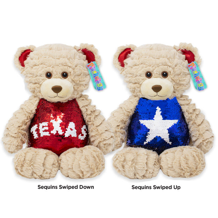"9.5"" Texas Magic Sequins Teddy Bear"