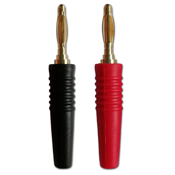 Mini Banana Plug 2mm Solder Speaker Test Connector Black Red Grips x 1 Pair