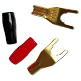 Spade Y Fork Speaker Plug Connectors Gold Plated Black Red PVC Sleeve x 1 Pair