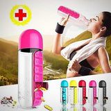 Water Bottle (with pill box) - pink - drinking