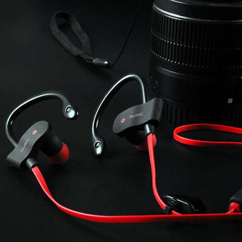 Bluetooth 4.1 Wireless Workout Headphones - Red - On Table