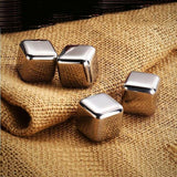 Stainless Steel Chilling Cube Stones (with gel center) - 4 pcs - on cloth