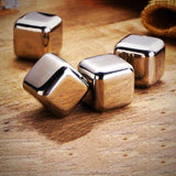 Stainless Steel Chilling Cube Stones (with gel center) - 4 pcs - on table