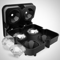 Diamond-Shaped Ice Cube Silicone Tray - Black
