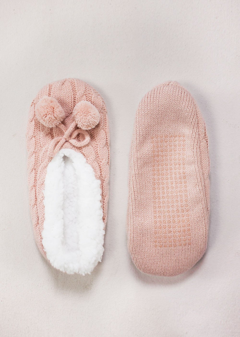 Pompom Cable Knit Slippers Blush Boutique Forty Four