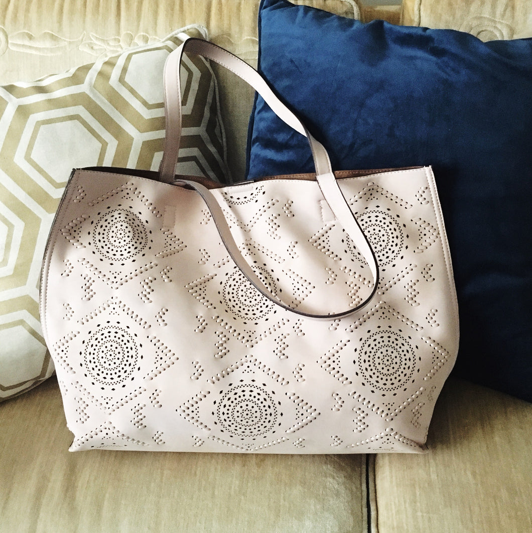 Perforated Blush Vegan Leather Tote